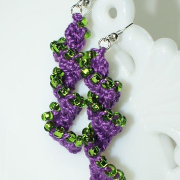 Halloween Purple Crocheted Beaded Helix Spiral Earrings