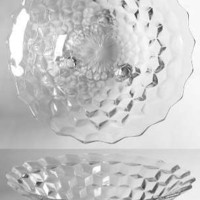 American Fostoria Clear Cubist 3-Toed Footed Bowl