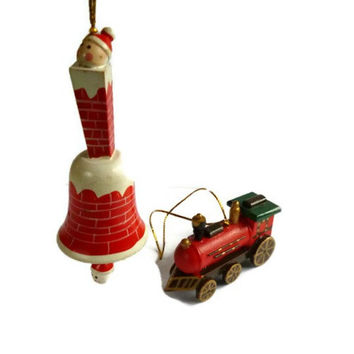 Vintage Bell and Steamtrain Christmas Ornament . Wooden Christmas Decoration . Wood Train and Xmas Bell .