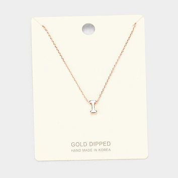 'I' Gold Dipped Metal Pendant Necklace
