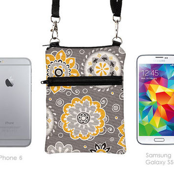 Cell Phone Purse with Strap, Small Cross Body Purse, FIts iPhone 6 5 4, Shoulder Bag, Samsung Galaxy S Sling Bag - gray black yellow floral