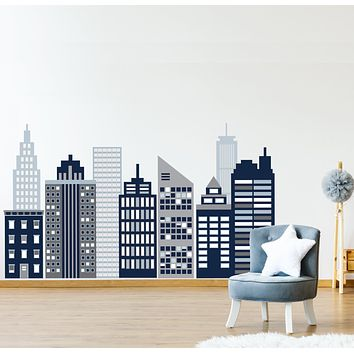 Large Navy Cityscape Wall Decals, City Skyline Wall Decals, Cityscape Wall Stickers