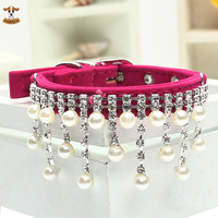 2016 Bling Pearl Crystal Necklace Pet Collars for Dogs Cats Clothes Dog Accessories Jewelry Product Red Pink Black S M L Size