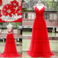 2014 Vintage Hot Red Prom Dresses V Neck Beaded Pleated Tulle Backless Long Evening Gowns