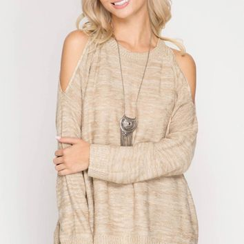 Cold Shoulder Sweater Top with Contrast Chiffon