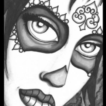 Day of the Dead Queen of Spades, stretched canvas print