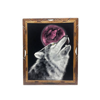 Velvet Painting Howling Wolf Native Woman Crying Pink Moon Signed Ortiz 70s Retro Art Vintage Wood Frame