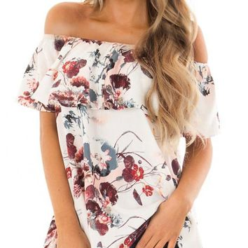 Chic White Off The Shoulder Floral Blouse Top