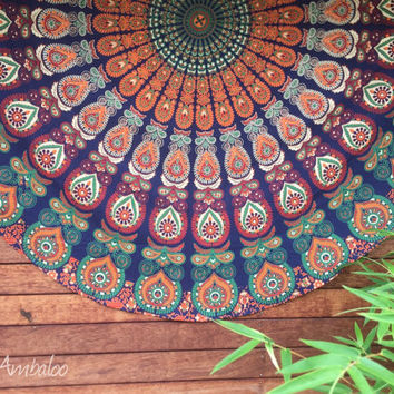 Bohemain beach throw, mandala roundie