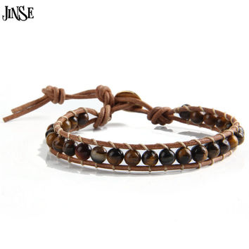 JINSE Leather Bracelet Men Women 1 Layer Natural Stone Bead Bracelets & Bangles Leather Beaded WP Bracelet With RealLeather Cord