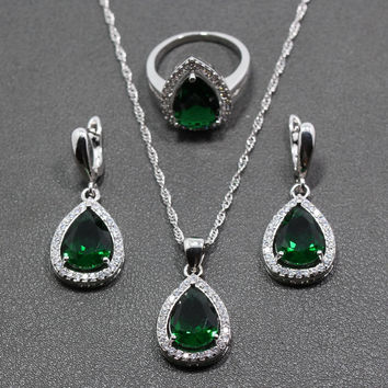 Green Zircon White Rhinestone Water Drop Sterling Silver Women Jewelry Sets Earrings/Pendant/Necklace/Ring Free Gift Box 204