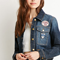Life in Progress Mixed Patch Denim Jacket