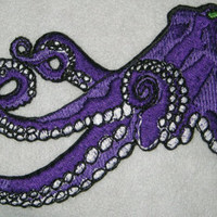 Huge Giant Octopus Octopie Jacket Back Iron on Patch Deep Abyss Purple ready to ship