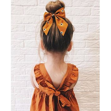 Pumpkin Spice Backless Girl Party Dress
