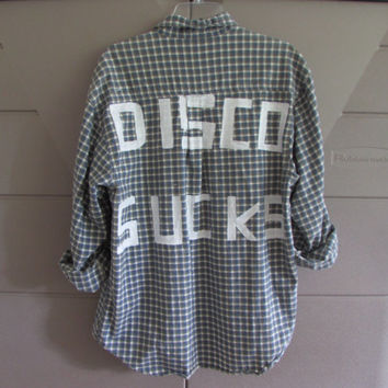 "Size Large Handpainted ""Disco Sucks"" Vintage Flannel"