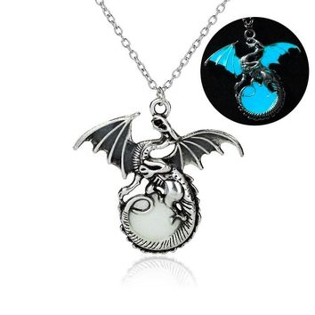 Game of Throne Fire Dragon Retro luminous pendant necklace Silver glowing in the dark Action Figure Toy necklace For Women Girls
