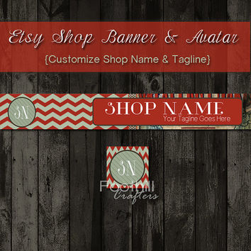 Etsy Banner and Matching Avatar, Premade, Red Chevron and Vintage AD Pattern, Customize Shop Name and Tagline, Graphic Design, Branding