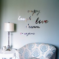 Wall Art Words in Mirror Acrylic - SET of 3, typography, text, writing
