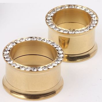 Gold flesh tunnel ear plug F78 mix 5 -16mm 140pcs/lot crystal stainless steel body jewelry ear plug piercing