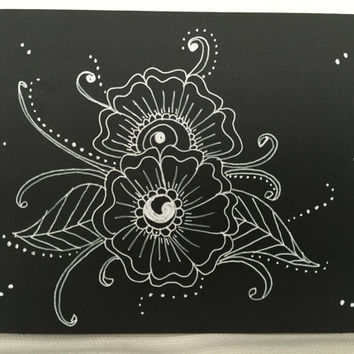 Henna Greeting Card - tribal flowers and leaves Boho