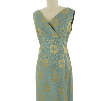 60s Turquoise and Gold Damask Wrap Back Cocktail Dress