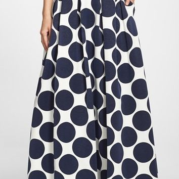 Women's Eliza J Pleated Dot Print Ball Skirt,