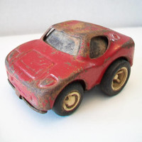 Tonka Metal Sports Car Made In Japan 1960'S Hot Rod Lil Red Car