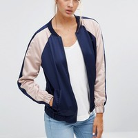 New Look Colour Block Sateen Bomber at asos.com