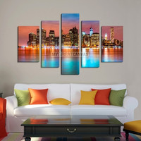 Large Wall Art NEW YORK Canvas Prints - New York City Buildings Between Colorful Sky and Colorful Water