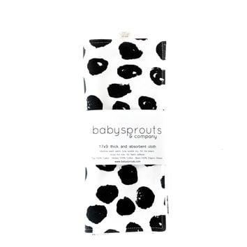 Burp Cloth in Black Dots