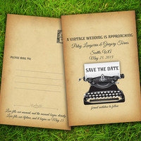 """Save The Date Wedding PostCard - Vintage Rustic Typewriter Customizable 4"""" x 6"""" - 50 Pieces PRINTED Double Sided Premium Postcard"""