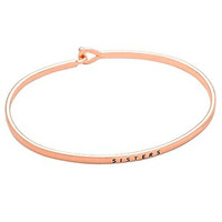 """Sisters"" Thin Metal Hook Bangle Bracelet Rose Gold Color"