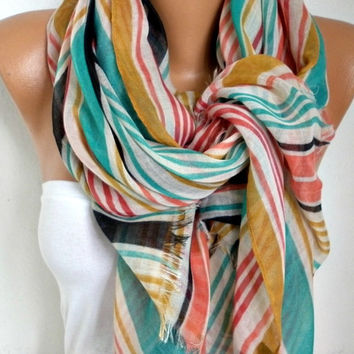 Spring Line Cotton Scarf Shawl Summer Cowl Oversized Wrap Gift Ideas For Her Women Fashion Accessories Mother Day Gift Women Scarves