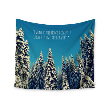 "Robin Dickinson ""I Went to the Woods"" Blue White Wall Tapestry"