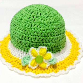 Spring Baby Hat, Easter Crochet Bonnet, Girl Sun Hat, Newborn cotton hat, Tea Party Hat, Bucket Cap, Baby Vintage, Derby Hat Victorian style