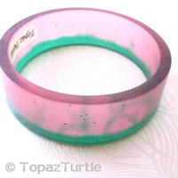 Rose pink and emerald green resin bangle bracelet jewellery , pink green broad resin bangle jewelry