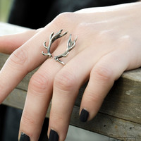 Deer Antler Ring Sterling Silver Adjustable Ring Horns Wrap Ring Boho Jewelry - FRI001SS
