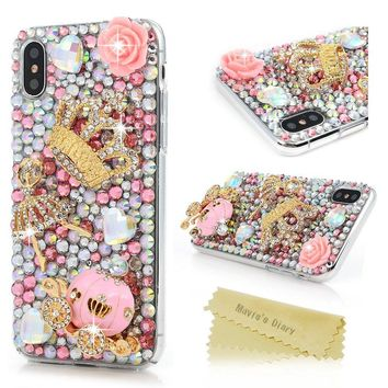 iPhone X Case, Mavis's Diary Full Edge Protective Plastic Case, 3D Handmade Crystal Clear Bling Full Diamonds Colorful Shiny Rhinestone Pink Pumpkin Car Gold Crown Hard PC Cover for iPhone X Edition
