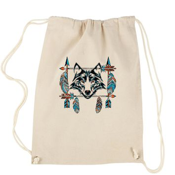Native American Wolf And Feathers Southwest Drawstring Backpack