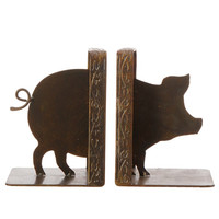 Farmhouse Collection Vintage Iron Pig Library Bookend Set
