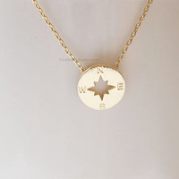Tiny gold compass necklace, gold circle disk necklace, compass necklace, bridesmaid gifts, gift ideas, wedding gifts