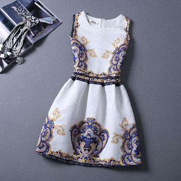 Elegant Vintage Flower Print Sleeveless Mini Tank Dress