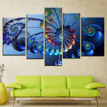 Modern Oil Painting Canvas Print Landscape Abstract Art Blue Peacock Wall Art Picture for Home Decoration 5PCS