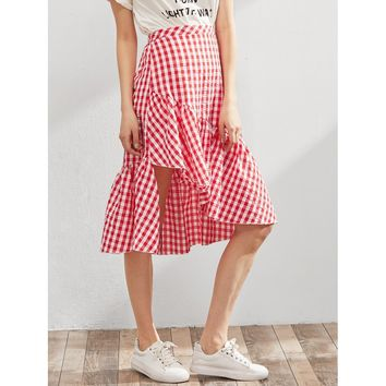 Red Gingham Knee Length Asymmetric Skirt
