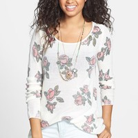 Frenchi 'Floral Grunge' Tunic Pullover (Juniors)