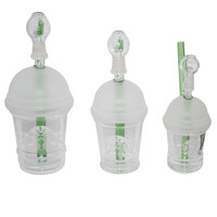 Starbux Green Dabuccino Oil Rig with 14mm Glass Nail + Globe - 6 inches tall - Medium