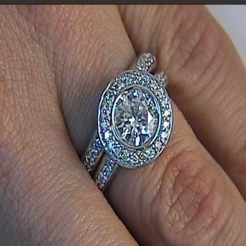 3.06ct Round Diamond Engagement & Eternity Wedding Ring 18kt White Gold GIA certified JEWELFORME BLUE