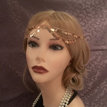 20's style GOLD 1920's Inspired Grecian Goddess Coin Tassel Gatsby Headchain 1920s head chain Gypsy Belly Dancer headpiece 20s headband