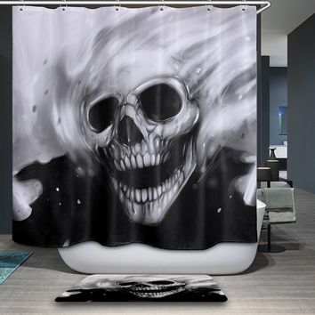 Smiry 3D 12 Hooks Terror Skull head Polyester Waterproof Shower Curtain Giraffe Wolf Home textile Bathroom Curtain gordijnen