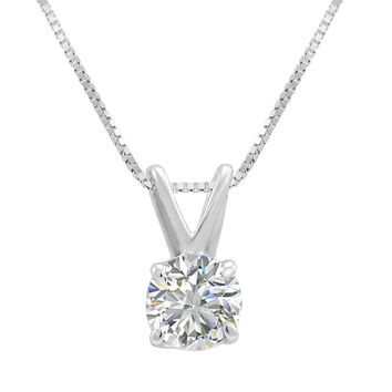 AGS Certified 1/2ct Round Diamond Solitaire Pendant Necklace in 14K White Gold